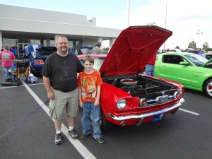 my husband and Oldest at the Mustang club