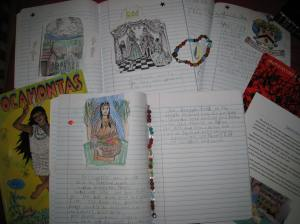 Pocahontas and Jamestown notebook pages and bead project.