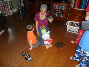 one of the rare moments of fun with Grandma