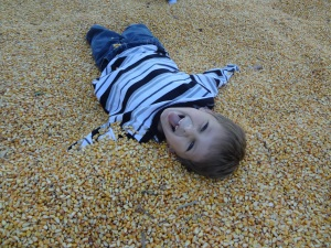 Middle Boy playing in the corn pit