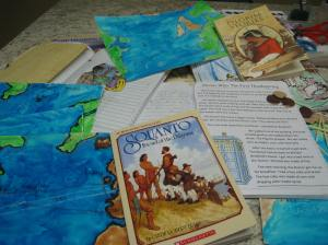 Primary Early American History notebook pages and maps for our Pilgrim studies