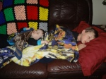 Middle Boy  and Littlest napping