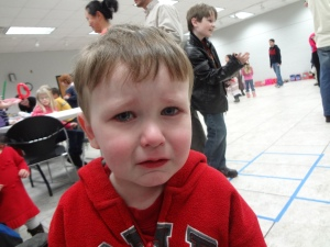 Littlest did not enjoy the Valentine's Day party.