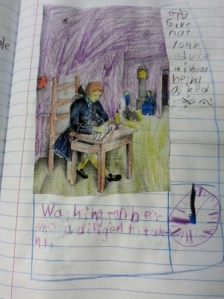 Middle Boy decided George Washington was studying about clocks
