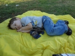 Littlest asleep at the drive-in