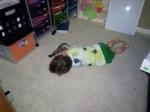 Littlest asleep in the school room