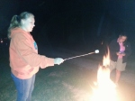 Mama Quilts showing me how to roast a marshmallow