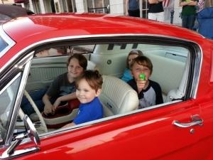 having fun in Daddy's car