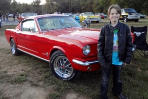 Oldest and Mustang at classic car drive-in night