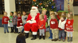 Littlest's preschool class with Santa Clause