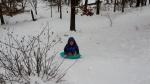 Middle Boy sledding backwards