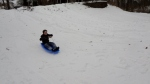 Oldest sleds likes he is on a galloping horse