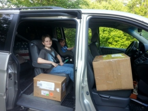 delivering boxes to FedEx for friends