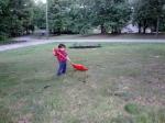 Littlest helping with yard work