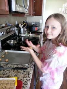 Sparkles making cookies before her illness this week